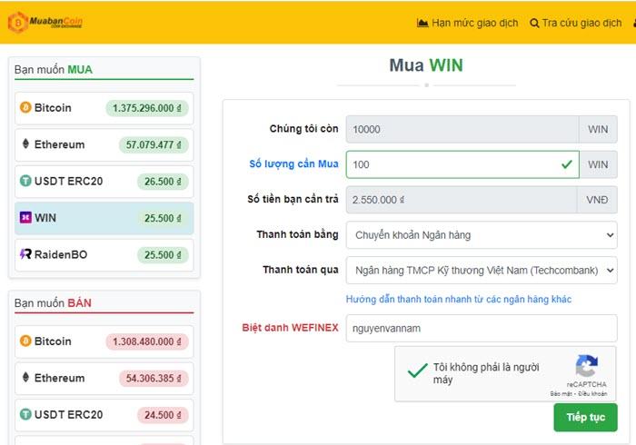 Cách nạp Win sàn Wefinex thông qua sàn Muabancoin.io