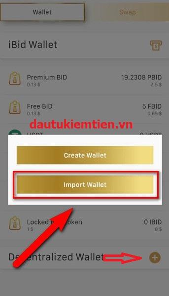Liên kết ví Imtoken với App IBID 1