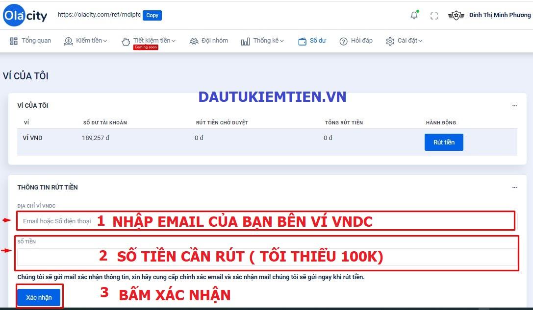 Cách rút tiền Ola City về tài khoản ví VNDC nhanh nhất 3