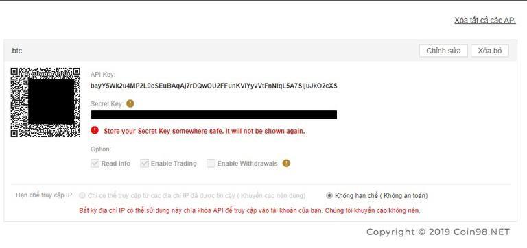 Nên nhớ lưu lại Secret Key để Backup dễ dàng