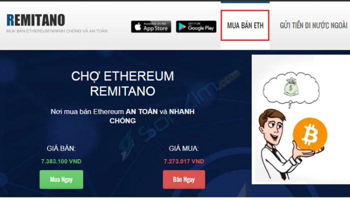 Mua bán ETH từ sàn Remitano
