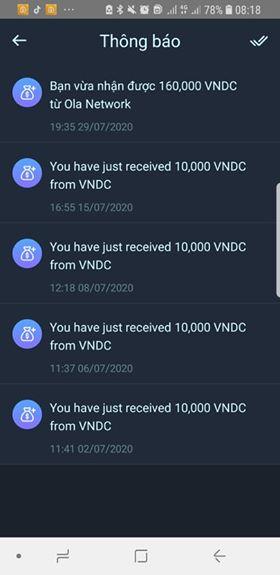 rut tien ola city về ví VNDC