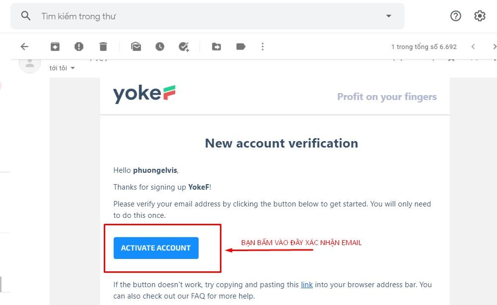 xác nhận email sàn yokef