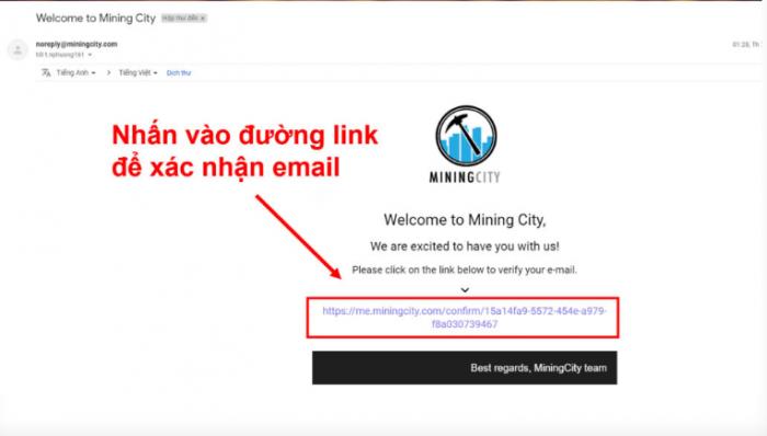 Bạn nhấp vào đường link trong Email để xác nhận