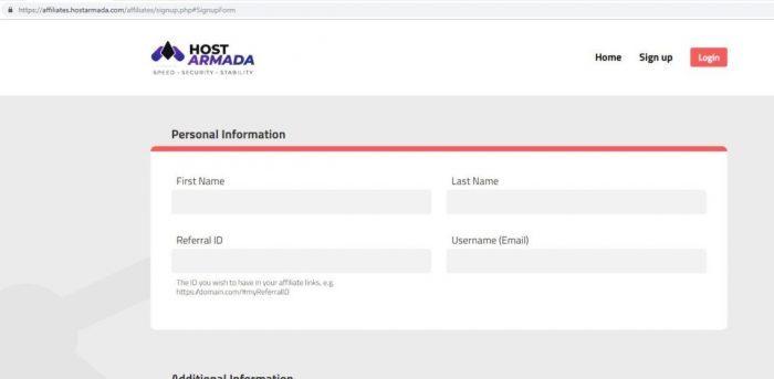 Điền đầy đủ thông tin để lấy link Afiliate Hostarmada