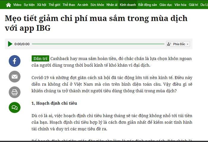 Báo dân trí mua sắm mùa dịch với app IBG VIỆT NAM