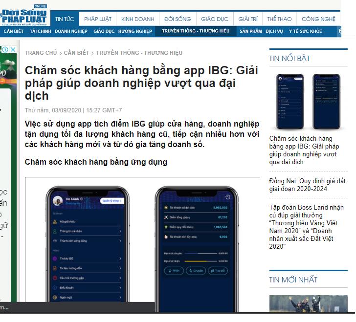 Báo đời sống pháp luật đưa tin IBG VIỆT NAM