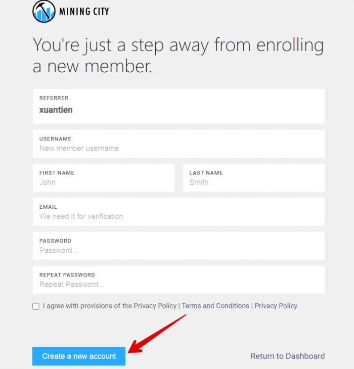 Kích chọn vào Register và điền đầy đủ các thông tin