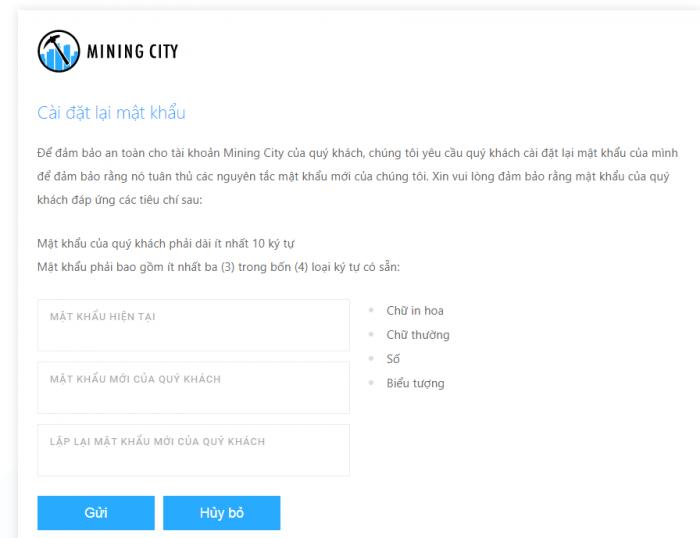 Mining City sẽ yêu cầu bạn đổi mật khẩu ngay từ lần đầu đăng nhập