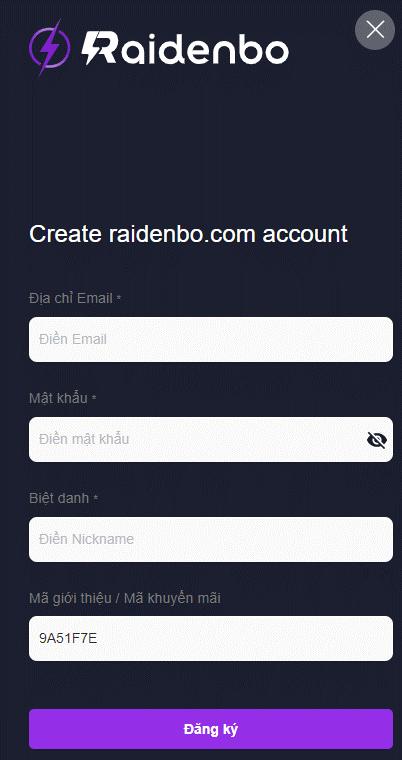 Điền đầy đủ thông tin và kích chọn đăng ký