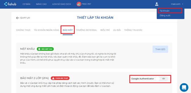 Cách cài đặt bảo mật 2 lớp (2FA) cho tài khoản sàn Fiahub
