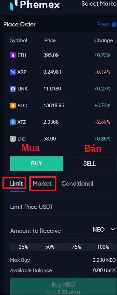 Tại Phemex, có 2 lệnh chính: Lệnh Limit và Lệnh Market