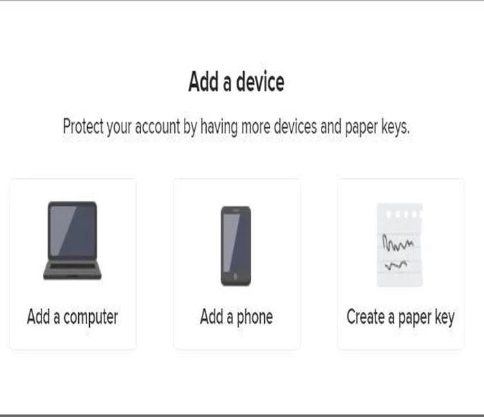 Chọn add device or paper key và chọn Creater a paper key