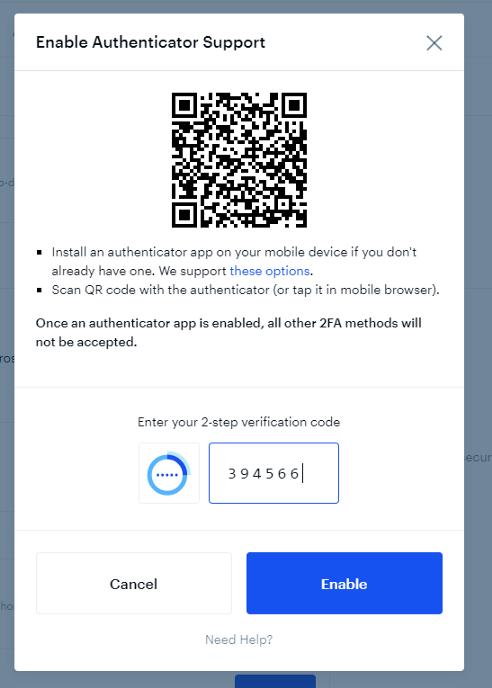 Màn hình sẽ hiện ra mã QR để bạn quét và nhập code để kích hoạt bảo mật