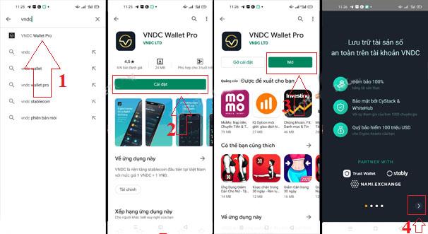 Bạn có thể vào CHPlay hoặc App Store tìm kiếm: VNDC Wallet Pro và tích vào cài đặt