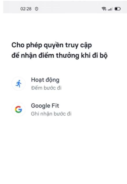 Cho phép sử dụng google fit để đếm và ghi nhận số bước chân