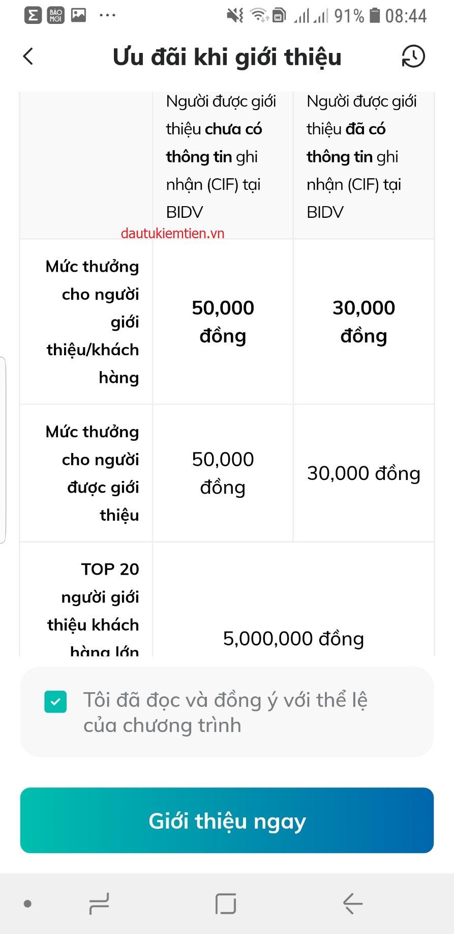 chia se nhan thuong BIDV