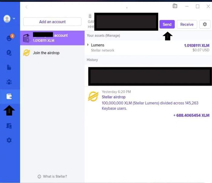 Bạn mở ứng dụng Keybase, vào phần Wallet ( Ví), kích chọn Send