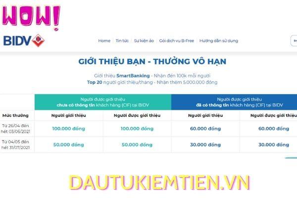 chuong trinh thuong vo han cua BIDV