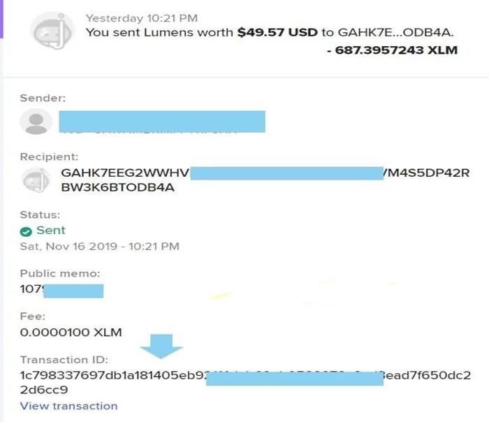 Copy phần Transaction ID để điền vào phần giao dịch bán trên Vicuta