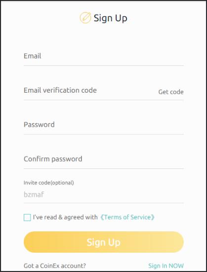 Khung thông tin đăng nhập tài khoản Coinex