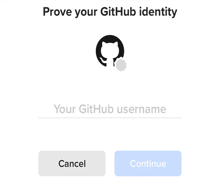 Nhập tên tài khoản Github -> bấm ContinueNhập tên tài khoản Github -> bấm Continue