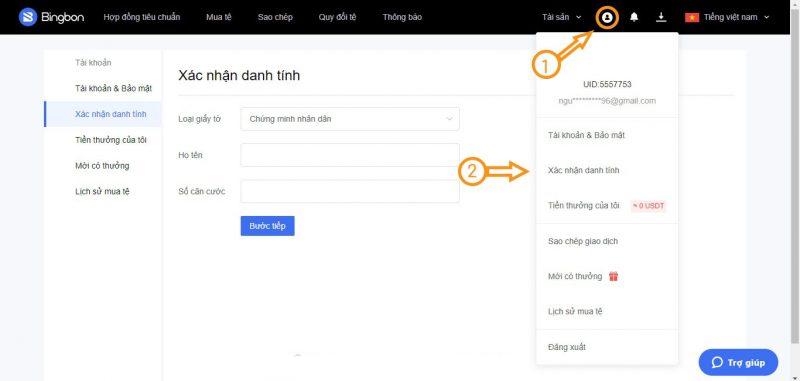 Cách xác minh danh tính sàn BingBon