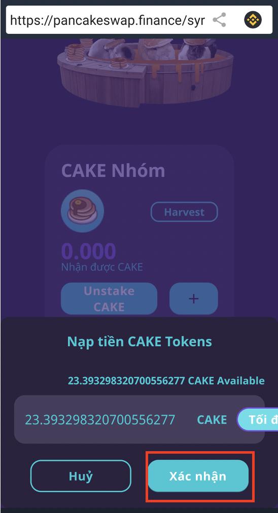 Bấm vào dấu (+) để stake CAKE vào pool