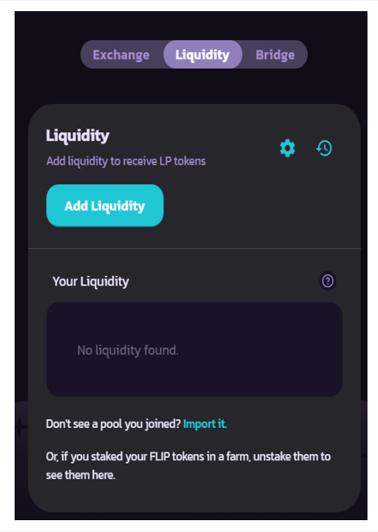 Chọn mụa Liquidity. Sau đó, kích chọn Add Liquidity
