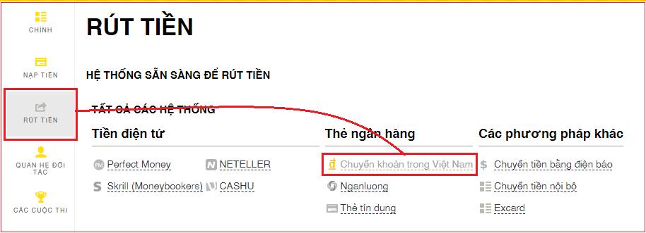 Đăng nhập thông tin tài khoản Exness chọn rút tiền và Chuyển khoản trong Việt Nam