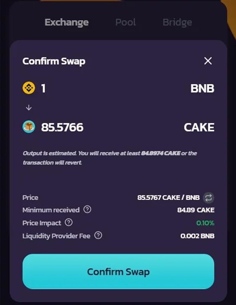 Kiểm tra chi tiết và chọn Confirm Swap