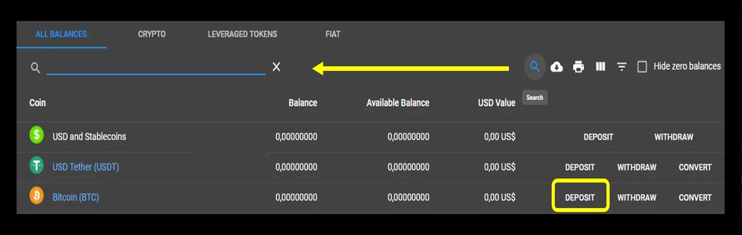Bạn chọn Deposit của Bitcoin