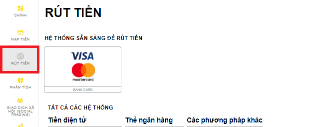 Bạn cần chọn mục Rút tiền trên thanh bảng chọn bên trái
