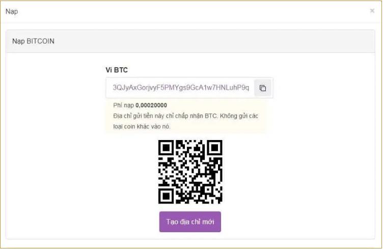 Copy địa chỉ ví Bitcoin hiện ra trên màn hình
