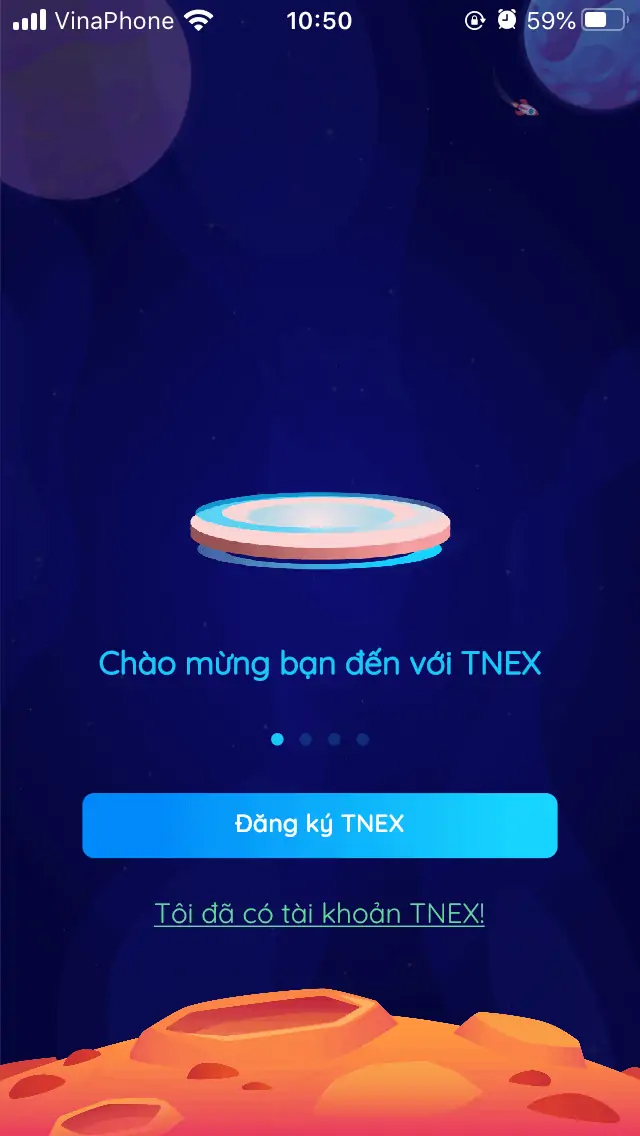 Mở ứng dụng và chọn Đăng ký TNEX