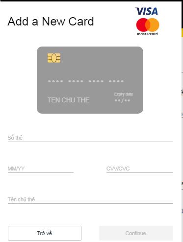 Khi thêm thẻ mới bạn phải điền khá đầy đủ thông tin