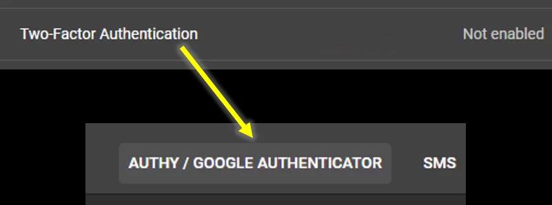 """Chọn dòng """"Two-Factor Authenticator"""" để thiết lập phương thức 2fa"""