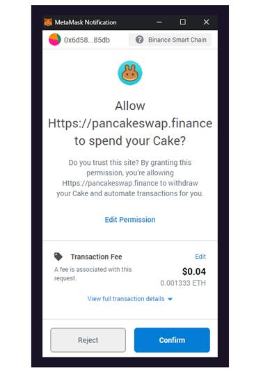 Chấp nhận hợp đồng bằng cách chọn Confirm trong ví liên kết với Pancakeswap
