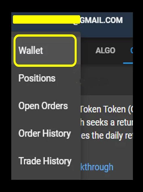 Chọn Wallet từ menu thả xuống