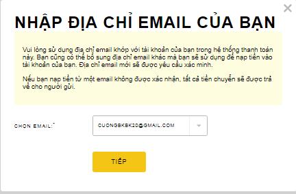 Bạn cần nhập email thông tin tài khoản Skrill rồi kích chọn Tiếp tục