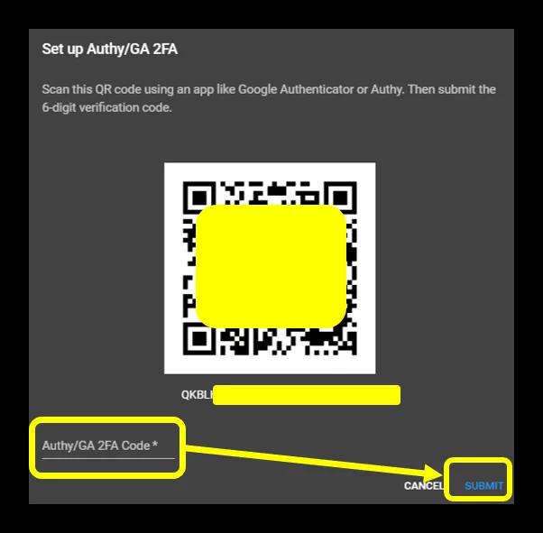 """Điền code từ app GA vào dòng """"Authy/ GA 2FA Code"""" rồi nhấn Submit"""