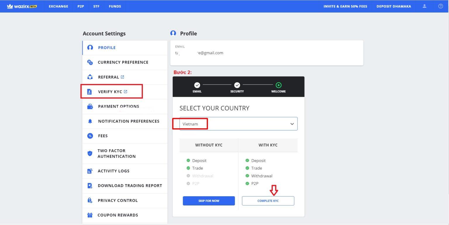 Trong mục Account Setting kích chọn vào mục Verify KYC