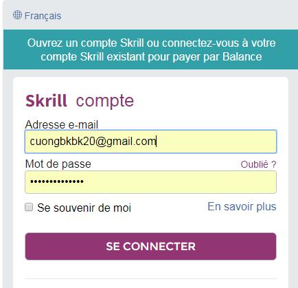Tại hành lang cửa số tiếp theo bạn phải đăng nhập và xác nhận thanh toán với Skrill