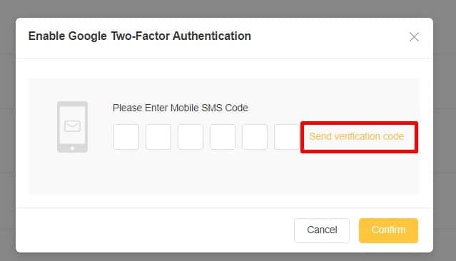 Bấm chọn vào Send Verification Code để nhận mã về điện thoại cảm ứng và điền vào