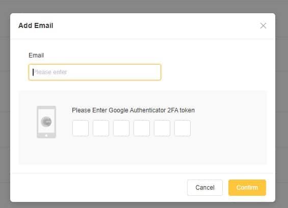 Bạn điền E-Mail link vào và điền mã 2FA vừa tạo xong vào