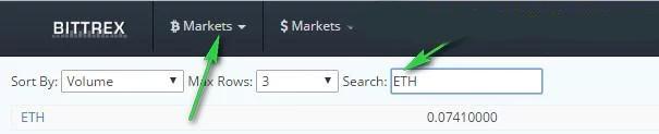 Bạn điền đơn vị tiền tệ loại Altcoin bạn muốn mua tại mục Market