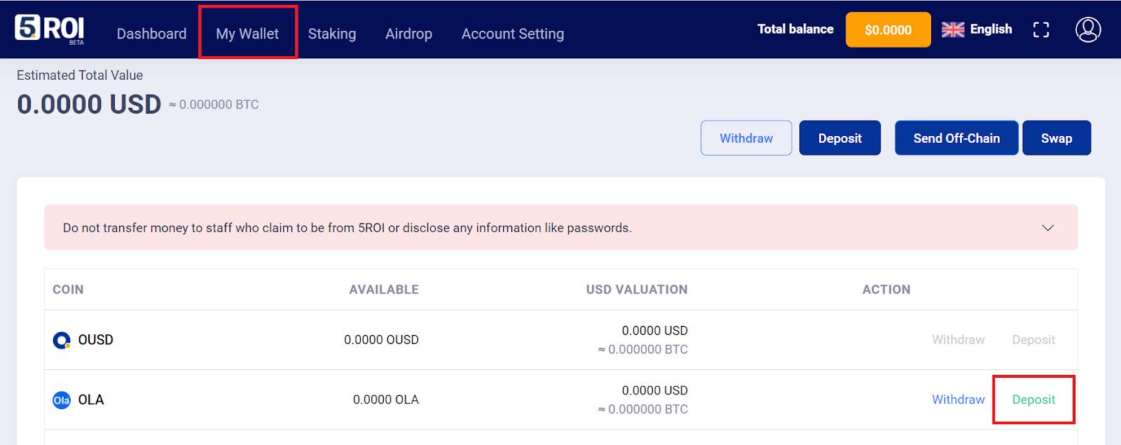 Kích chọn vào My Wallet rồi chọn chọn Deposit đồng OLA