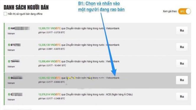 Click chọn vào người bạn muốn mua Bitcoin tại mục Danh sách người bán