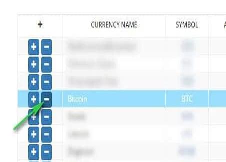 Tìm chọn Bitcoin –BTC -> Nhấn vào dấu trừ đằng trước BTC để rút tiền