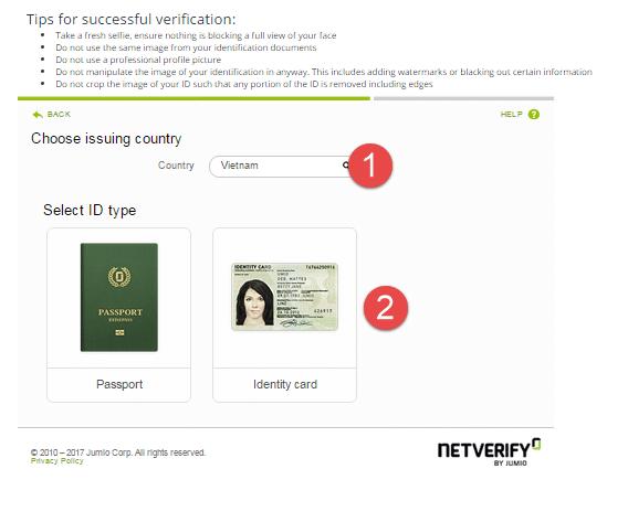 Chọn Identity Card hoặc Passport